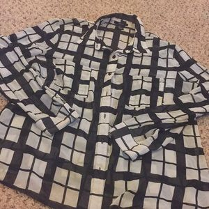 Forever 21 plaid sheer black and white button down